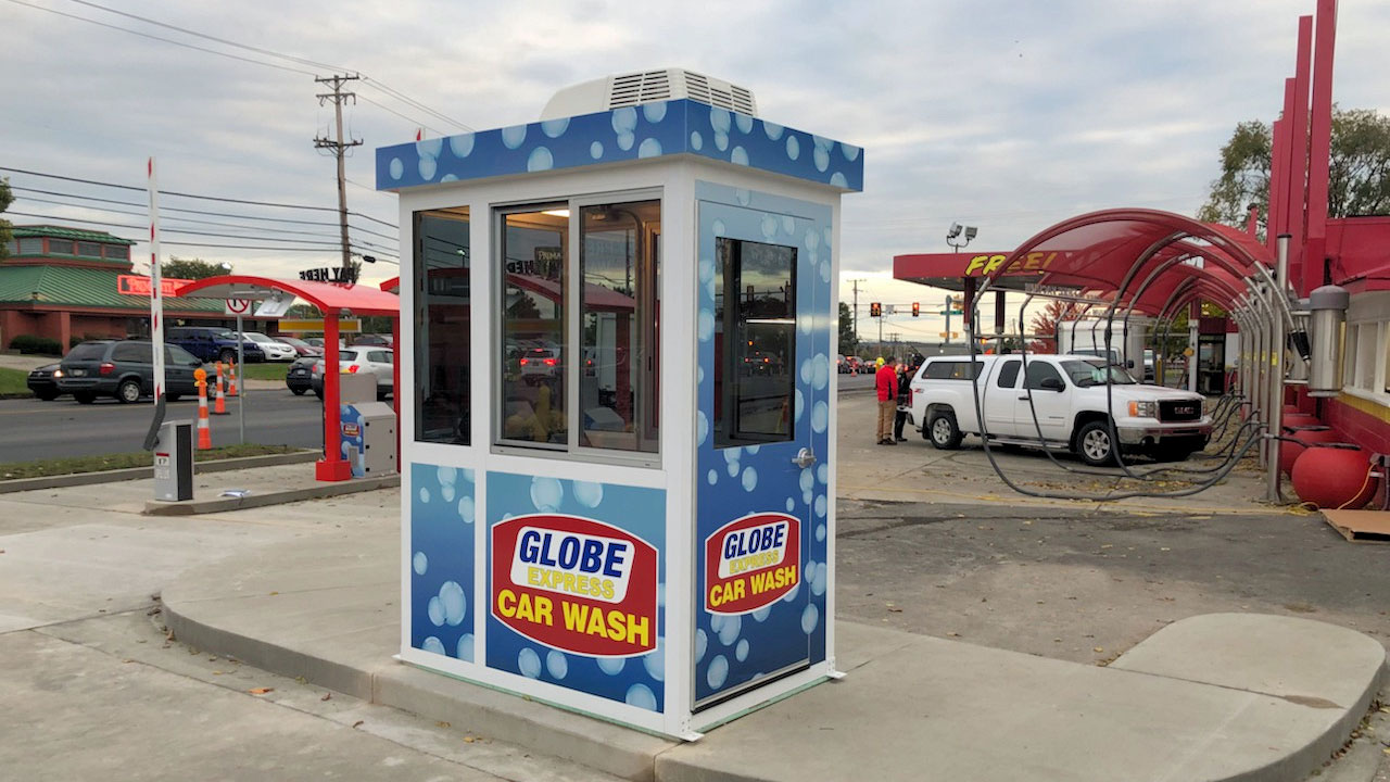 Car Wash Cashier Booth with a Swing Door